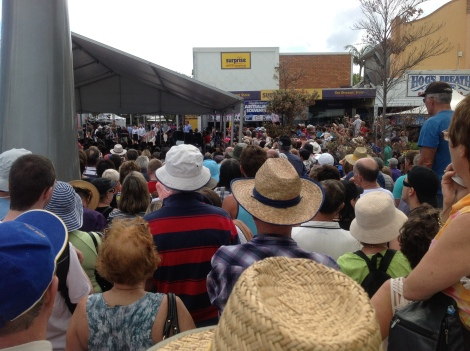 Crowd at opening of Bee Gees Way at Redcliffe on February 14, 2013
