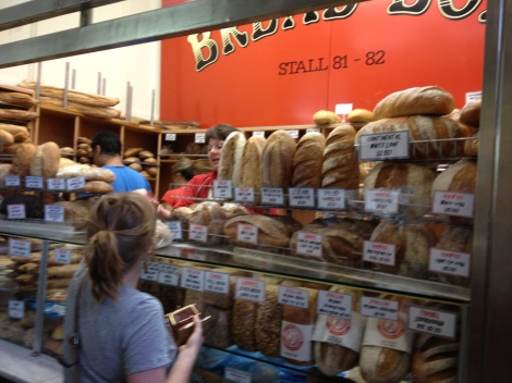 Bread stall in food hall at Victoria Market