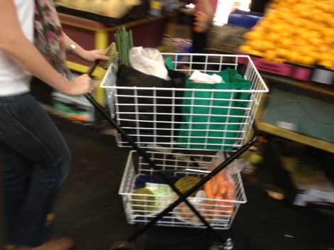 Two-deck wire shopping trolley at Victoria Market