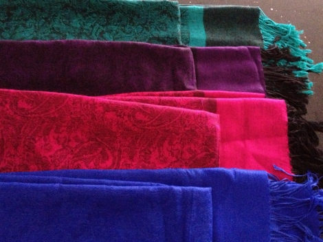 Four pashminas for $25