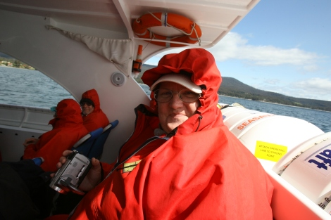 Trina rugged up in her Bruny Island Cruises survival suit