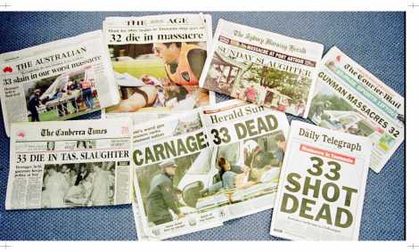 Day 1 front page coverage of the massacre from Australian newspapers