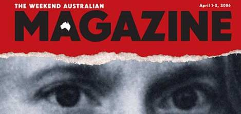 The Weekend Australian Magazine opted to run a close up of Martin Bryant's eyes to mark the 10th anniversary of his violence, which was especially ironic given the ethical fallout from its original blatant manipulation of the killer's eyes in its April 29, 1996, front page coverage of the massacre.
