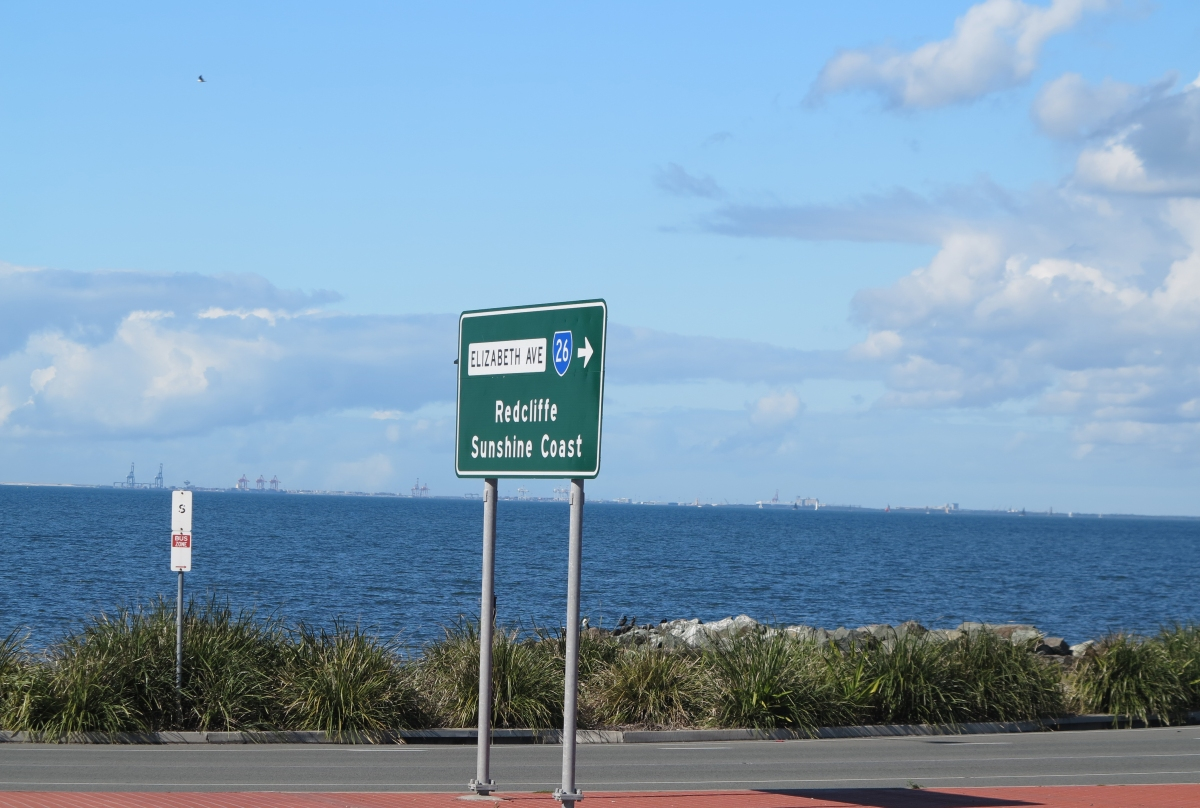 View across Bramble Bay from Clontarf to the Port of Brisbane