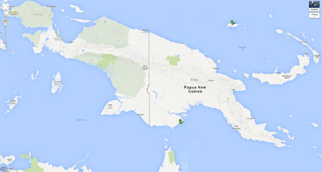 Map of PNG showing Manus Island in the north and Daru Island in the south