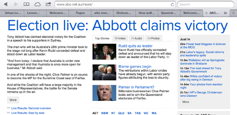 The ABC home page