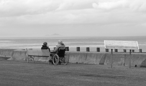 Man in wheelchair at beachside