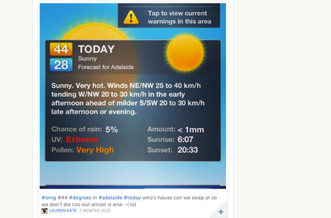 AdelaideNow used Storify to draw in social media images and text during January's heatwave.