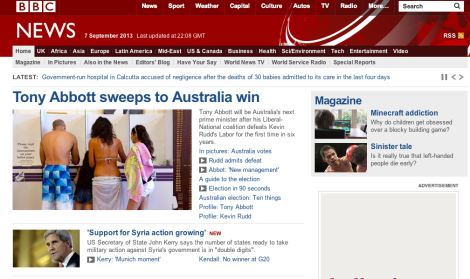 BBC website reports concession correctly on its home page