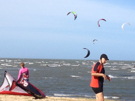 Kitesurfers prepare their gear at Brighton