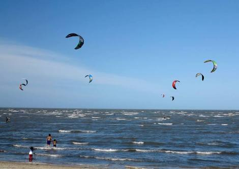 Kitesurfers vie for space off the Brighton foreshore