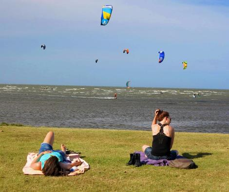 The view across the grassy verge at Sandgate to just some of the kitesurfers