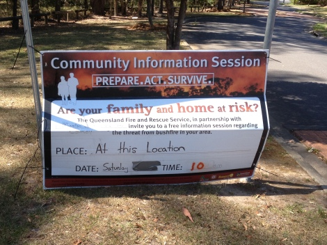 Sign announcing fire safety community information session on Malvern Rd