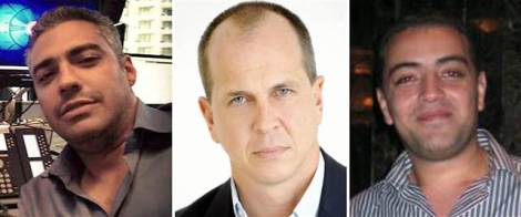Al-Jazeera journalists (from left) Mohammed Fahmy, Peter Greste and Baher Mohamed.