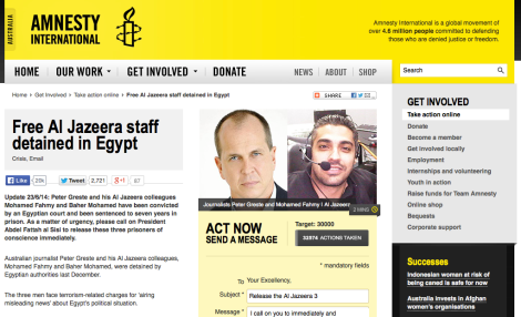 To support Peter Greste, Mohamed Fahmy and Baher Mohamed, sign Amnesty International's petition to free the three Al Jazeera English journalists. Screen shot: Amnesty International Australia Website