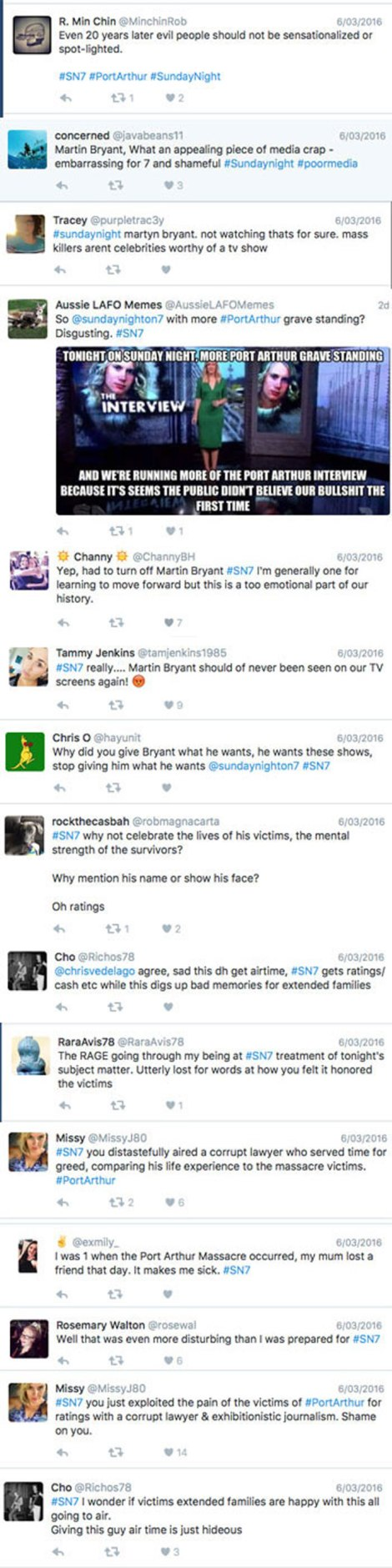 What just some displeased viewers had to say on Twitter about Sunday Night's 'sensational' coverage that focused on the massacre's perpetrator.