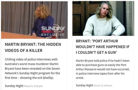 "How the Seven Network promoted its ""exclusive"" Sunday Night programs that aired on March 6 and March 13, 20 years after Australia's worst mass killing."