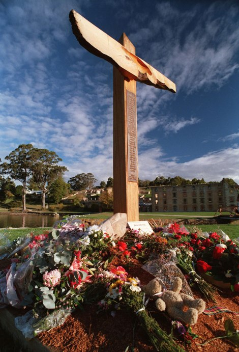 The original memorial cross was positioned at the neck of the harbour at Port Arthur until a more permanent site could be built next to the ruins of the Broadarrow Cafe.