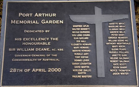 The plaque naming those killed on April 28, 1996, was unveiled in the new Port Arthur reflection garden four years after the tragedy.